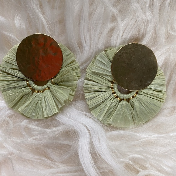 Anthropologie Green and Gold Raffia Earrings